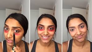 try using red lipstick under your foundation to cover up dark circles