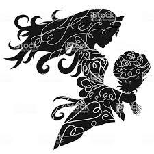 彼女は手に花の花束と冠の魅力的な女性のシルエット おとぎ話の