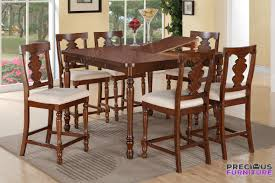 cherry counter height piece: poundex f  piece cherry wood counter height dining set leaf