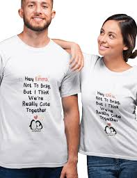 Nice Couple Shirt Designs Cute Together Penguins Personalised Tees For Couples