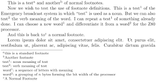Advanced Footnote Layout With Word Definition Tex Latex Stack