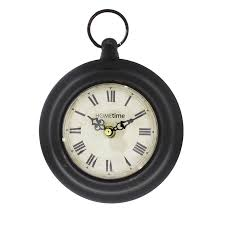 small metal black pocket watch style wall clock