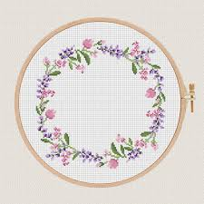 Cross Stitch Flower Patterns Enchanting Flowers Cross Stitch Pattern Lavender Helleborus Floral Wreath