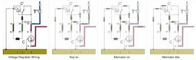 charging system tests in the diagram the left image shows the basic wiring layout and the 3 diagrams on the right show how current flows in the 3 stages of operation