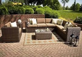 appealing l shaped woodard patio wicker furniture sets