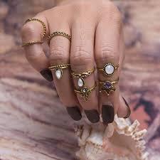 <b>8pcs</b>/Set <b>Gold</b> Color Flower Midi Ring Sets for <b>Women</b> Silver Color ...