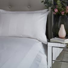 details about silentnight luxury wide sateen stripe duvet cover and pillowcase set white