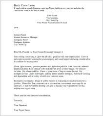 Cover Letter Templates Free Download Basic Cover Letter Template