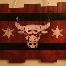 chicago bulls small wooden stained flag handpainted chicago flag basketball decor mancave