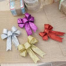 Großhandel 12 Cm Große Gold Silber Rot Lila Glitter Tuch Weihnachten Bogen Christbaumschmuck Ornamente Für Neujahr Xams Decor Von Bdgarden