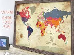 Vintage Style Map World Map Framed Gift For Parents Gift For