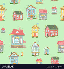 Seamless Cute Cartoon Houses Pattern