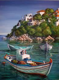 boat painting fishing boats in skiathos old port by yvonne ayoub