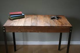 rustic reclaimed wood desk  table with industrial iron legs