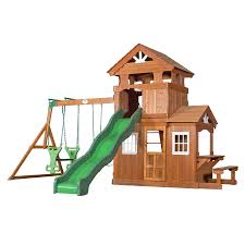 Backyard Discovery Shenandoah Residential Wood Playset with Swings