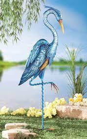 blue heron metal crane bird statue