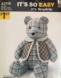 Teddy Bear Sewing Pattern Unique Simplicity Teddy Bear Sewing Pattern 48 Its So Easy A48 One Size