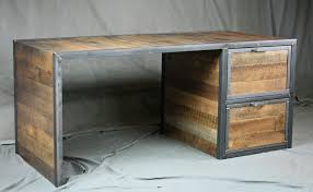 reclaimed wood desk with file drawers 4 1 of 1