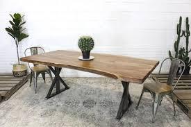 metal design furniture. Live Edge Acacia Natural Wood Table With Farmhouse Brushed Metal  Legs/Natural - Wazo Furniture Metal Design Furniture