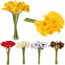 <b>10pcs</b>/<b>set Artificial Flowers</b> Calla Lily Bride Bouquet Wedding Party ...