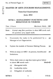 management functions and behaviour in tourism  management functions and behaviour in tourism 2012 hospitality and tourism tourism management masters university exam indira gandhi national