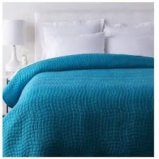 Alba Solid Peacock Blue Quilt Coverlet &  Adamdwight.com