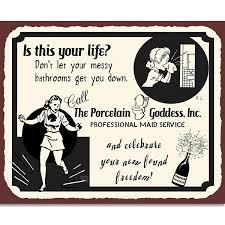 Retro Bathrooms Inspiration Porcelain Goddess Maid Service Funny Metal Bathroom Retro Tin Sign