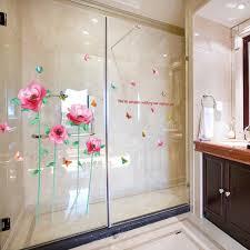 sweet beautiful pink flowers sticker erfly fl 3d wall stickers waterproof bathroom wall tile decor mural paintings xn119