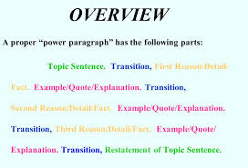 writing a color coded power paragraph a proper power paragraph  a proper power paragraph has the following parts topic sentence transition