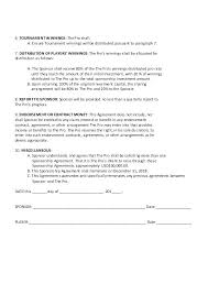 Sponsorship Contract Template Fascinating Celebrity Endorsement Contract Template Sponsorship Investment