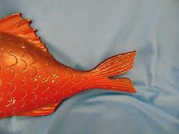 3 of 5 vintage red fish wall hanging 1967 ton metal nautical decor beach cottage art
