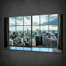 window view of manhattan ny modern canvas print picture wall art free uk p p