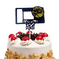 <b>20pc Cake Toppers Flags</b> Happy Birthday Basketball Cupcake Cake ...