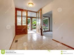 open front door. Empty Front Entrance With Open Door. Home Interior. Door