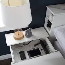 bedside table with charging station. Delighful With South Shore Furniture Bedside Table With Charging Station And Drawers Pure  White Amazoncouk Kitchen U0026 Home Inside With