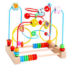 montessori baby toys classic wire beads maze wooden toys around the mirror child gift early learning