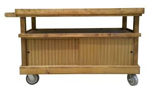 extra long rustic wood rolling counter mobile cart display maid service cabinet