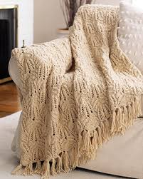 Knitted Afghan Patterns Best Lace Cable Afghan Knitting Pattern FaveCrafts