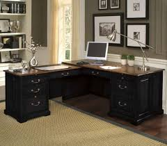 shaped home office. Corner L Shaped Office Desk White Flooring Ideas Wooden Armless Chair Black Leather Home S