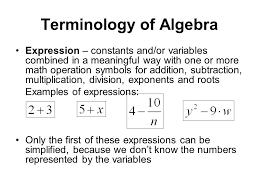 5 terminology of algebra