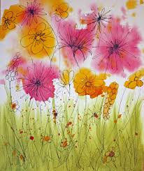 painting wild flowers with wet watercolours