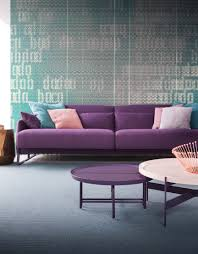 Asolo divano in tessuto con basamento laccato melanzana abaco 1