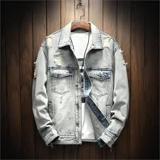 Light Gray Denim Jacket Men Vogue Classic Simple Light Gray Denim Jacket Men Hole Simple Style Fashion Denim Jacket Asian Size M 5xl Denim Jacket Wool Collar Coats For Mens