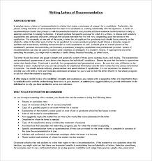 Writing Student Letter Of Recommendation Guidelines Printable Or