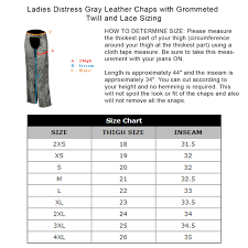 Ladies Distress Gray Leather Chaps With Grommeted Twill And Lace
