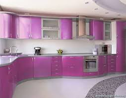 of the Day: Light metallic purple cabinets and a curved layout give this  familiar modern kitchen design a playful feel. (Kitchen-Design-Id.