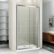 sliding glass shower door beige wall tiles built in shelf screen curtain using brushed nickel panel