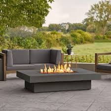 Concrete Lipped Rectangle Fire Pit Table