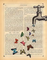 erflies art print magical faucet vine dictionary book print