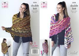 Details About Ladies Virus Shawl Double Knit Crochet Pattern Womens King Cole Riot Dk 5335